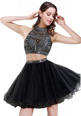 Sexy Crystal Beads Tulle Sleeveless Two-piece Short Prom Dress On Sale_3