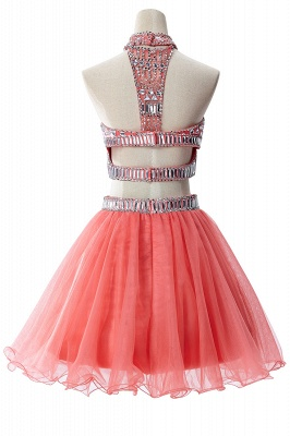 Sexy Crystal Beads Tulle Sleeveless Two-piece Short Prom Dress On Sale_9