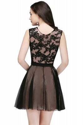 Short Lace Appliques Tulle Sleeveless Prom Dress On Sale_5