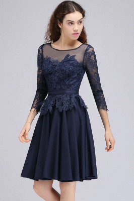 Dark Navy A-line Homecoming Dress On Sale_5