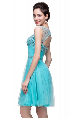 Open Back Sleeveless Chiffon Homecoming Dress Crystal Beads Tulle Short Prom Dress On Sale_10