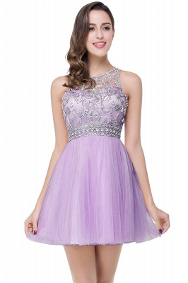 Simple Crew Beading Sleeveless Tulle Short Prom Dress On Sale_3