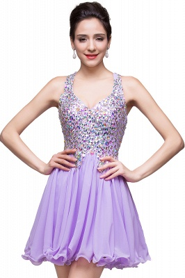 Chic Crisscross-straps Crystal Beads Ruffle Chiffon Sweetheart Short Prom Dress On Sale_8