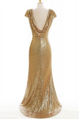 Women Sparkly Rose Gold Long Sequins Bridesmaid Dress On Sale_9