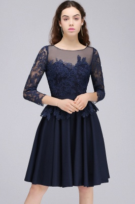 Dark Navy A-line Homecoming Dress On Sale_4