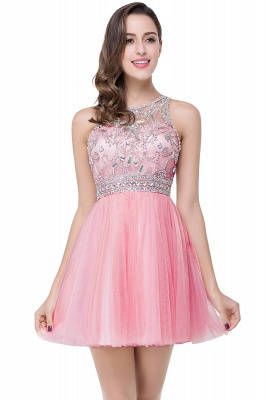 Simple Crew Beading Sleeveless Tulle Short Prom Dress On Sale_1