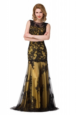 Scoop Neck Mermaid Black lace Applique Evening Prom Dress On Sale_4
