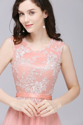 Pink A-line Prom Dress with Lace Appliques On Sale_7