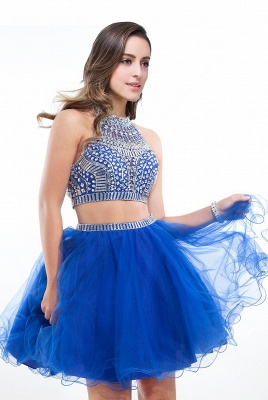 Sexy Crystal Beads Tulle Sleeveless Two-piece Short Prom Dress On Sale_2