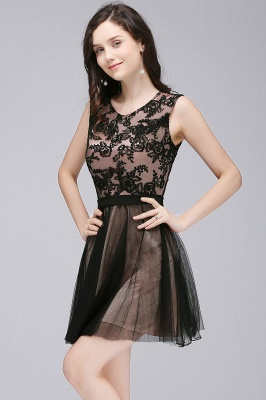 Short Lace Appliques Tulle Sleeveless Prom Dress On Sale_6