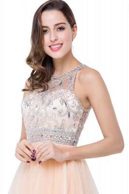 Simple Crew Beading Sleeveless Tulle Short Prom Dress On Sale_12