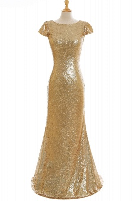 Women Sparkly Rose Gold Long Sequins Bridesmaid Dress On Sale_10