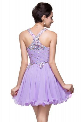 Chic Crisscross-straps Crystal Beads Ruffle Chiffon Sweetheart Short Prom Dress On Sale_9