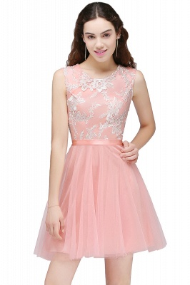 Pink Short Homecoming Dress with Lace Appliques On Sale_1