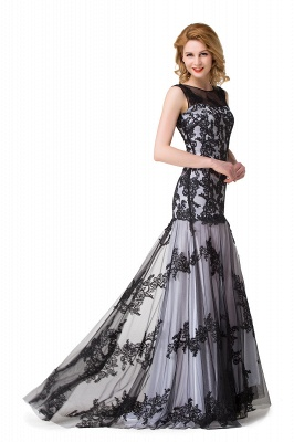 Scoop Neck Mermaid Black lace Applique Evening Prom Dress On Sale_11