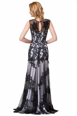 Scoop Neck Mermaid Black lace Applique Evening Prom Dress On Sale_14