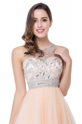 Simple Crew Beading Sleeveless Tulle Short Prom Dress On Sale_9