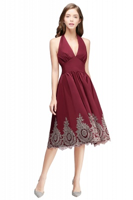 Burgundy Halter Neck Cocktail Dress On Sale_1