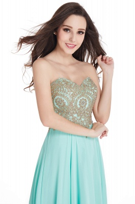 Women's Strapless Embroidery Beaded Prom Formal Dress On Sale_9