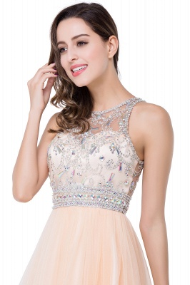 Simple Crew Beading Sleeveless Tulle Short Prom Dress On Sale_8