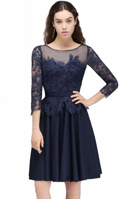 Dark Navy A-line Homecoming Dress On Sale_2