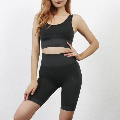 Yoga Clothing Suit High Waist Fitness Shorts Female Yoga Vest Sports Tights Shorts_25