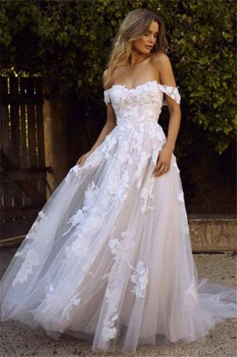 Appliques Lace Off-the-shoulder Tulle Charming A-line Wedding Dresses_1