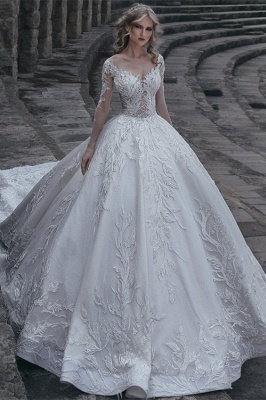 Elegant Long Sleeves Ball Wedding Dresses | 2020 Lace Sexy Bridal Gowns_2