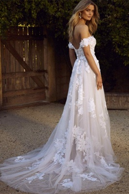 Appliques Lace Off-the-shoulder Tulle Charming A-line Wedding Dresses_2