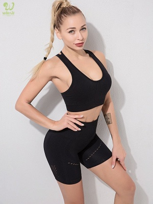 Two Piece Sport Suit Women Yoga Set Gym High Waist Tight Elastic Vest Shorts_9