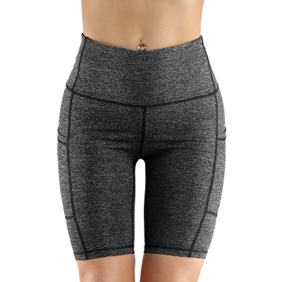 Women High Waist Out Pocket Yoga Short Workout Running Athletic Yoga Shorts