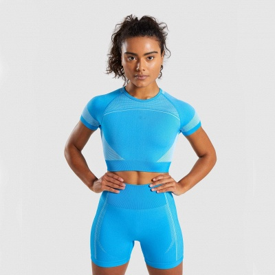 Two Piece Suit Womens Solid Color Fitness Yoga Suit Short Sleeve T-shirt Shorts_3