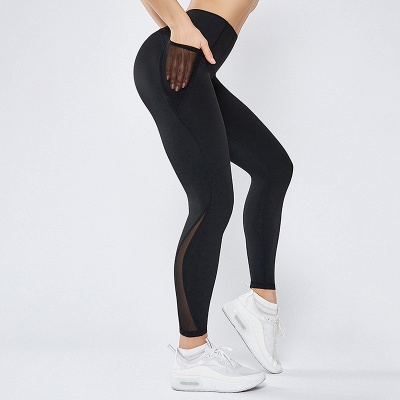 High Quality Fitness Yoga Pants with Pocket | Elastic High Waist Leggings Stretch Breathable Pants_2