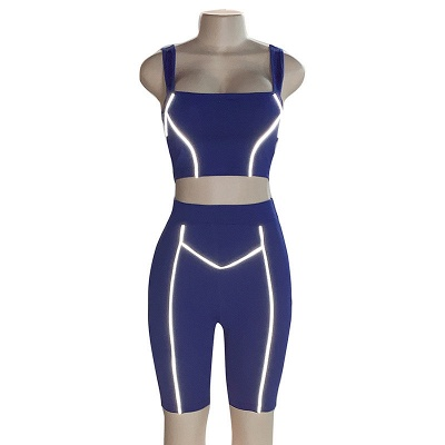 Two piece Women Yoga Sets Quick Dry Sports Suit Fitness Bra Elastic Gym Shorts_9