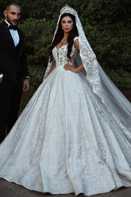 Elegant Lace Straps Wedding Dresses | 2020 Luxury Open Back Sleeveless Bridal Gowns_2