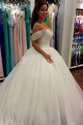 2020 Off Shoulder Ball Gown Wedding Dress Sweeheart Crystals Wedding Gowns_2