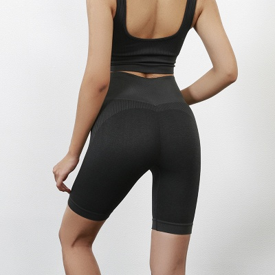 Yoga Clothing Suit High Waist Fitness Shorts Female Yoga Vest Sports Tights Shorts_9