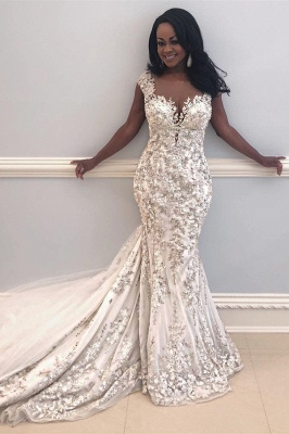 Sexy Sleeveless Beads Appliques Mermaid Cheap Wedding Dresses for Brides