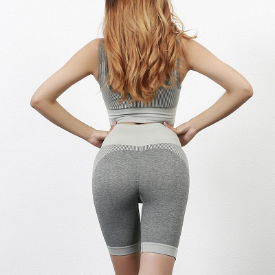 Yoga Clothing Suit High Waist Fitness Shorts Female Yoga Vest Sports Tights Shorts_2