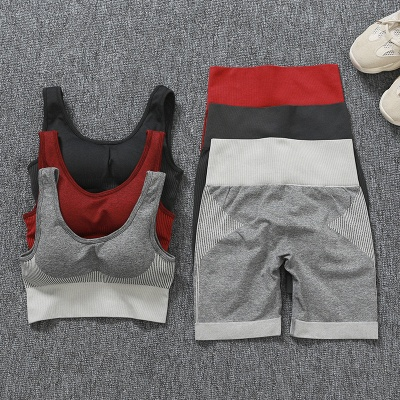 Yoga Clothing Suit High Waist Fitness Shorts Female Yoga Vest Sports Tights Shorts_22