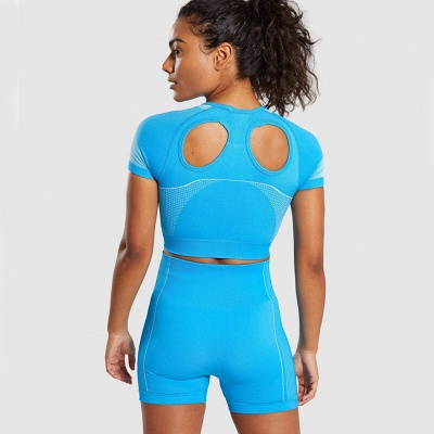 Two Piece Suit Womens Solid Color Fitness Yoga Suit Short Sleeve T-shirt Shorts_25