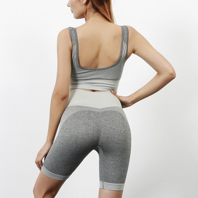 Yoga Clothing Suit High Waist Fitness Shorts Female Yoga Vest Sports Tights Shorts_1