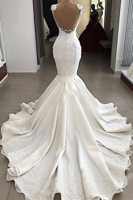 2020 Sexy Mermaid Wedding Dress   Sleeveless Sheer Tulle Appliques Bridal Gowns_3