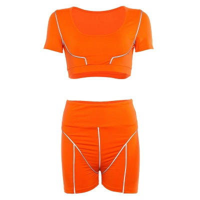 Reflective Stitching Yoga Set Sport Suit Fluorescent Sportswear Yoga Vest Gym Shorts