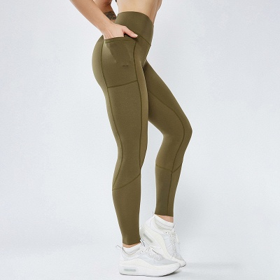 Solid Color High Waist Yoga Pants Sports Legging | Women Full Tights Sports Wear_3