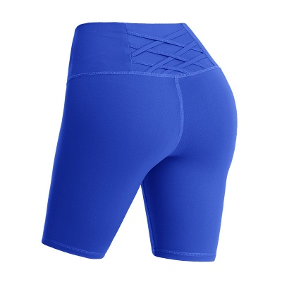 Women Solid Color Yoga Shorts Breathable Sports Gym Elastic Fitness Shorts_2
