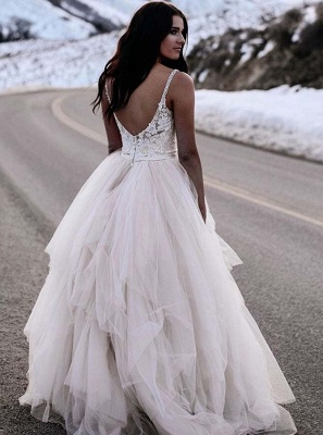 Appliques V-neck Spaghetti-Straps Attractive A-line Lace Wedding Dresses_2