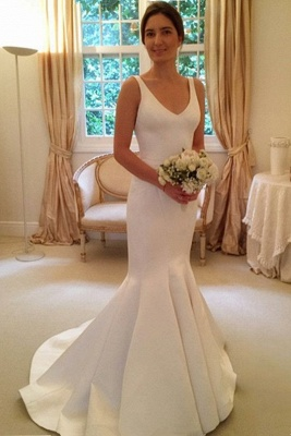 Mermaid Elegant Sleeveless Bride Dress 2020 V-Neck Open-Back Wedding Dress_1