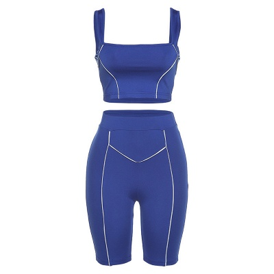 Two piece Women Yoga Sets Quick Dry Sports Suit Fitness Bra Elastic Gym Shorts_16