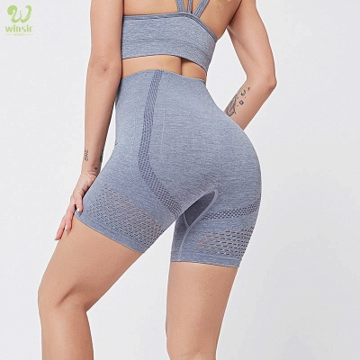 Two Piece Sport Suit Women Yoga Set Gym High Waist Tight Elastic Vest Shorts_8